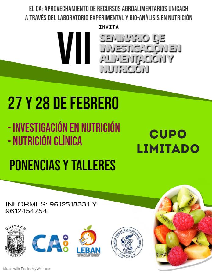 Seminario de investigacion en nutricion y alimentacion unicach